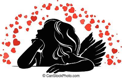 hartjes, klein meisje, engel, rood