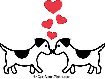 hartjes, liefde, twee, honden