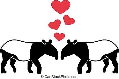 hartjes, liefde, twee, tapirs