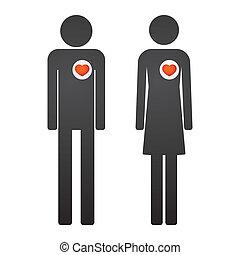hartjes, mannelijke , vrouwlijk, pictogram
