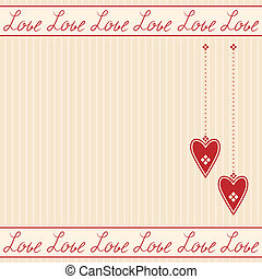 hartjes, romantische, kaart, groet