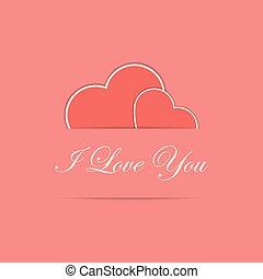 hartjes, rood, twee, kaart, valentijn