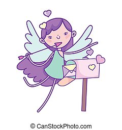 hartjes, schattig, valentines, brievenbus, dag, cupido, brief, vrolijke
