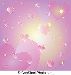hartjes, st, begroetende kaart, valentijn