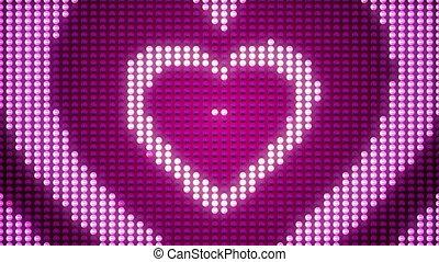 hartjes, toenemend, liefde, pulsing