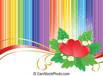 hartjes, twee, achtergrond, regenboog