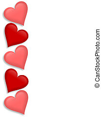 hartjes, valentines, grens, dag, 3d