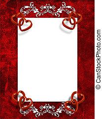 hartjes, valentines, grens, dag, rood