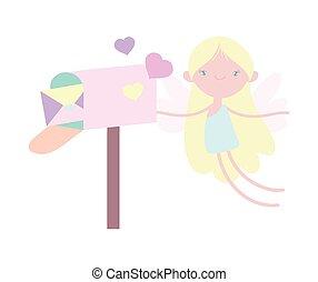 hartjes, vrolijke , schattig, brief, brievenbus, dag, cupido, valentines