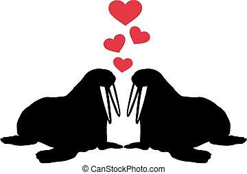 hartjes, walruses, liefde, twee