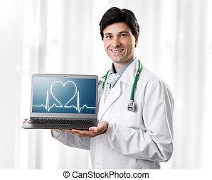 hartslag, het tonen, mooi, draagbare computer, arts