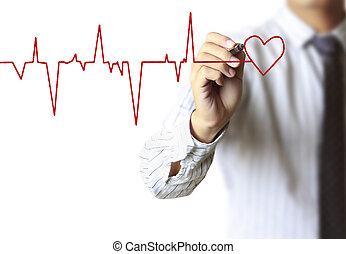 hartslag, man, tabel, tekening