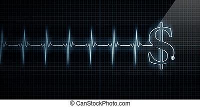 hartslag, monitor, met, dollar
