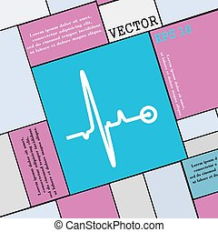 hartslag, pictogram, teken., moderne, plat, stijl, voor, jouw, design., vector