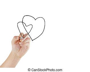 hartslag, tekening, tabel