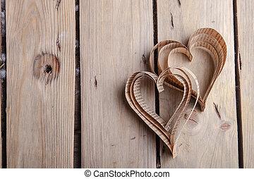 hartvormig, cutout, st, valentines, hartjes