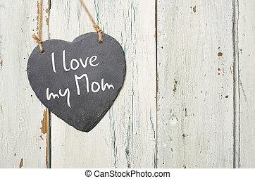 hartvormig, lei, meldingsbord, met, de, inscriptie, ik, liefde, mijn, mamma