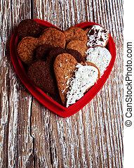 hartvormig, valentines dag, koekjes