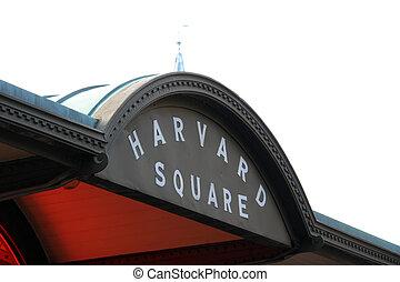 Harvard Square Marquee in Cambridge Massachusetts against a bright sky