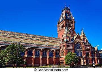 harvard, universidad, edificio histórico, en, cambridge