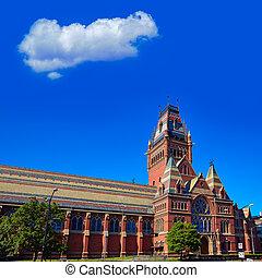 Harvard University historic building in Cambridge at...
