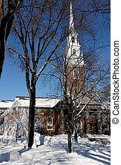 Harvard University's Memorial Church in Winter