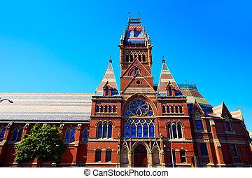 harvard, uniwersytet, historyczna budowa, w, cambridge