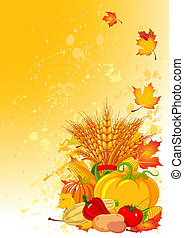 Harvesting design with plump pumpkins, wheat, vegetables and autumn leaves