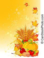 Harvest background - Harvesting design with plump pumpkins,...