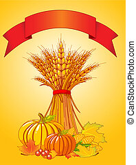 Seasonal background with plump pumpkins, wheat, corn and autumn leaves