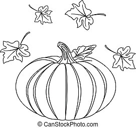 Black and white Pumpkin and leafs for coloring