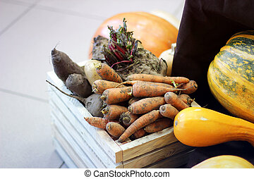 Harvest. Carrots in a wooden box