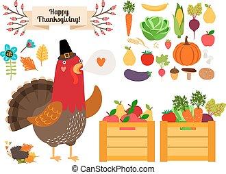 Harvest clip art. Vector fruits, vegetables for Thanksgiving...