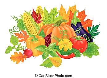 Composition of fresh, tasty vegetables.