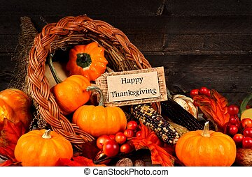 Harvest cornucopia with Happy Thanksgiving gift tag -...