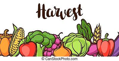 Harvest festival banner. Autumn illustration with seasonal fruits and vegetables.