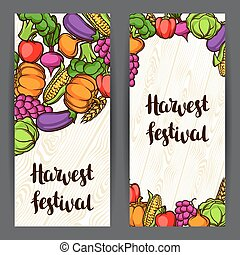 Harvest festival banners. Autumn illustration with seasonal fruits and vegetables