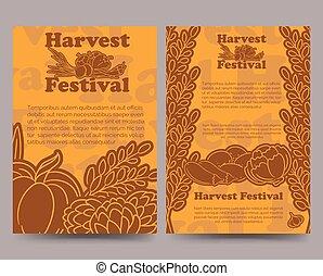 Harvest festival brochure template with vegetables