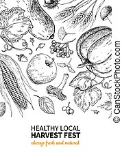 Harvest festival. Hand drawn vintage vector frame illustration with vegetables, fruits, leaves. Farm Market poster