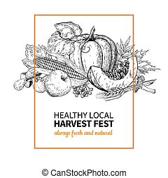 Harvest festival. Hand drawn vintage vector illustration with group of vegetables, fruits, leaves. Farm Market