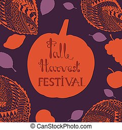 Harvest Festival Poster with Hand Drawn Lettering