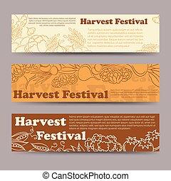 Harvest festival vegetable horizontal banners