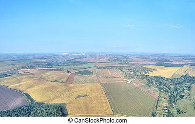 Harvest fields aerial