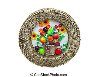 Harvest fruit and vegetables decorative panel over white...