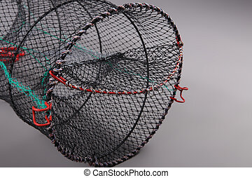 Harvest gear of Eel cylindrical cage on grey background