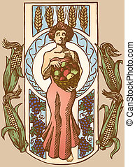 An art nouveau inspired drawing of the goddess of the harvest, Demeter.