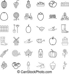 Harvest icons set, outline style