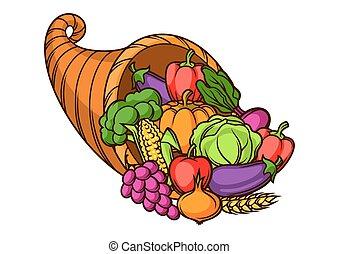 Harvest illustration .Autumn cornucopia with seasonal fruits...