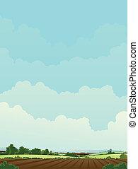 Harvest Landscape - Illustration of a rural landscape with...
