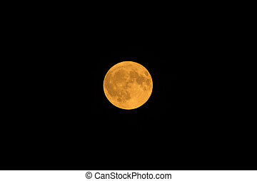 Full Harvest Moon on 6 October 2017 over Sussex, England.